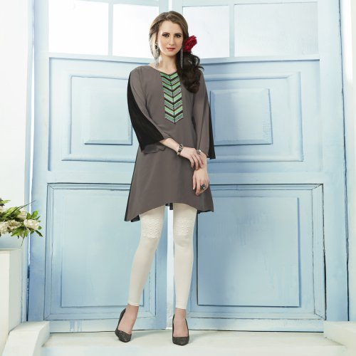 Brown Georgette Embroidered Straight Kurti