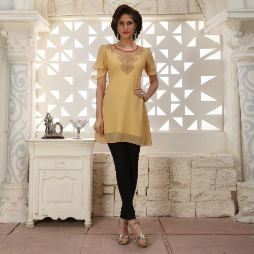 Beige Georgette Embroidered A Line Style Kurti