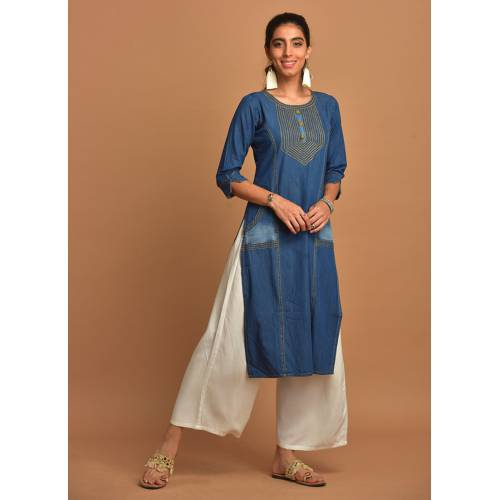 Navy Blue Denim Kurti With Side-pockets & 3/4th Sleeve