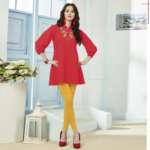 Orange Georgette Embroidered Straight Kurti
