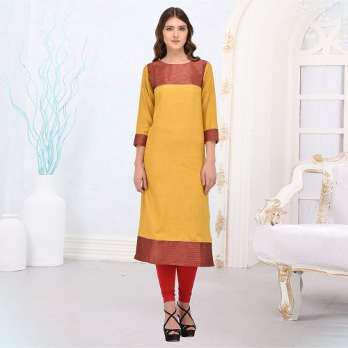 Yellow And Red Rayon Plain Straight Kurti