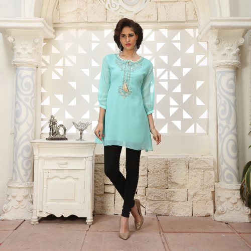 Green Georgette Embroidered A Line Style Kurti