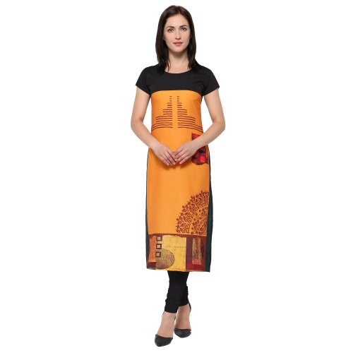 Orange & Multicolorcrepe Digital Printed Kurti