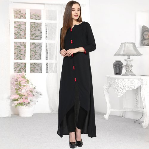 Black Rayon Plain Round Neck High Low Hem Kurti