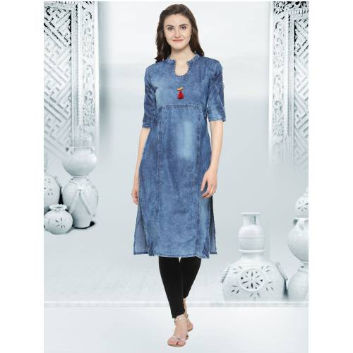 Blue Denim Kurta Embellished With Beads On Neck Line And Sleeves