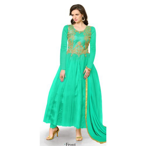 Craftsvilla Light Green Net Embroidered Anarkali Gown (un-stitched)
