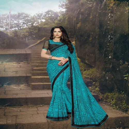 Craftsvilla Blue Rajjo Net Printed Saree