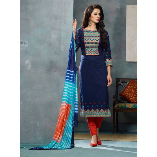 Craftsvilla Blue Color Cotton Embroidered Unstitched Straight Suit
