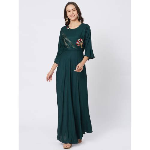 Craftsvilla Teal Green Viscose Embroidered Full Length Contemporary Gown