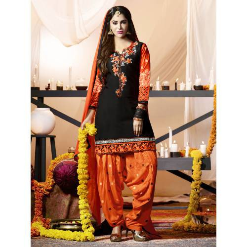 Craftsvilla Black Color Cotton Embroidered 3/4th Sleeves Unstitched Straight Suit