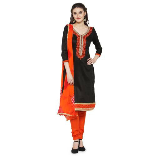 Craftsvilla Black Color Synthetic Embroidered Unstitched Straight Suit