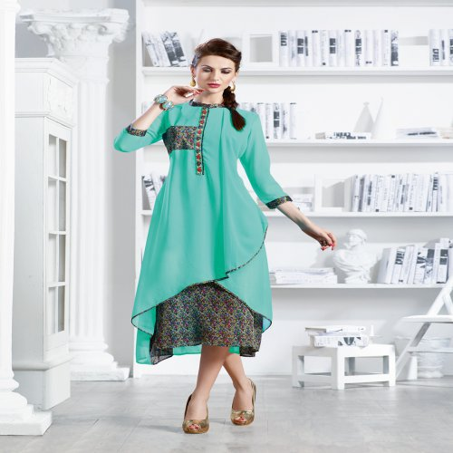 Sea Green Georgette Readymade Embroidered Indo-western Party Wear Kurti