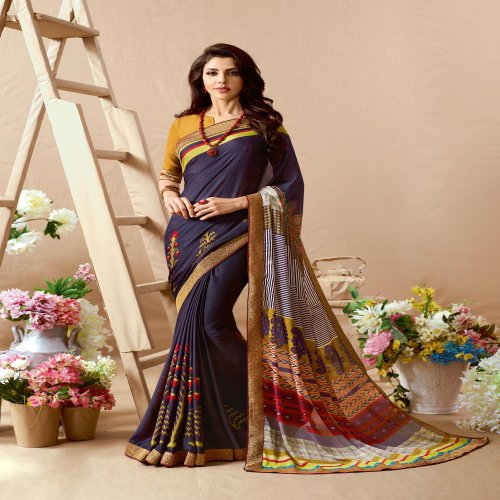 Craftsvilla Blue Color Georgette Textured Designer Saree