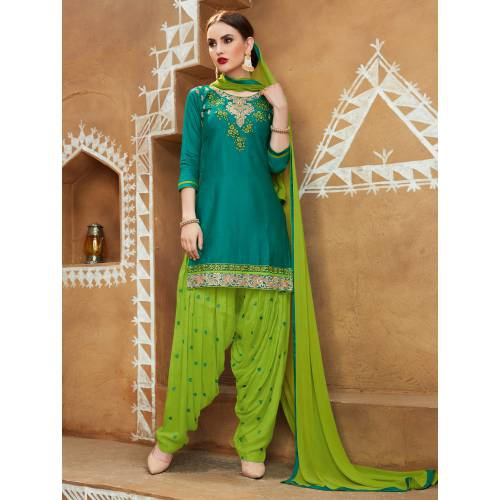 Craftsvilla Teal Green Color Cotton Embroidered 3/4th Sleeves Unstitched Straight Suit