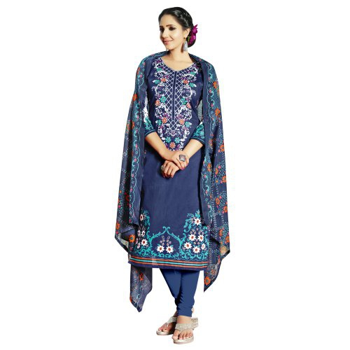 Craftsvilla Blue Color Cotton Blend Printed 3/4th Sleeves Unstitched Straight Suit