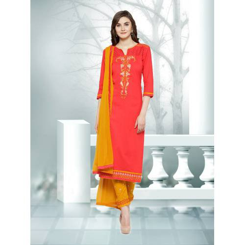 Craftsvilla  Peach And Yellow Color Embroidered Un-stitched Straight Suit