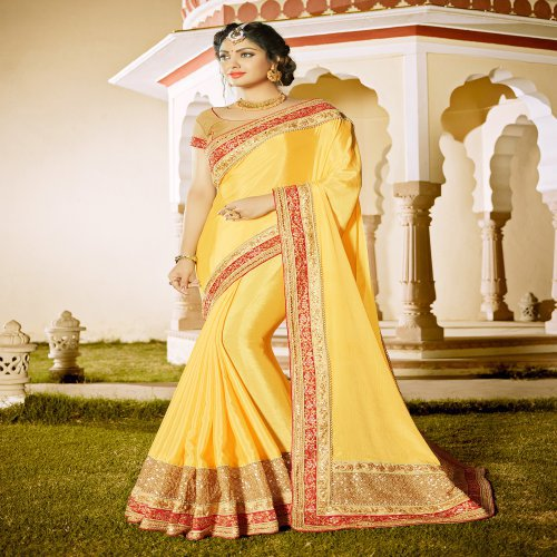 Craftsvilla Yellow Chiffon Embellished Lace Border Party Wear Saree