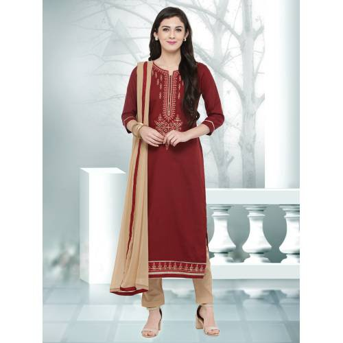 Craftsvilla Red Color Cotton Embroidered Unstitched Straight Suit