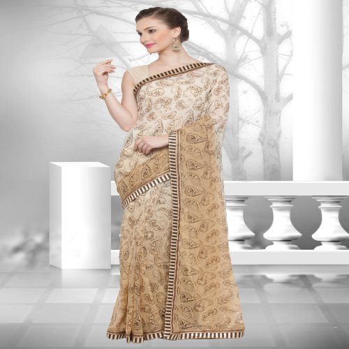 Craftsvilla Beige Color Georgette Printed Designer Saree