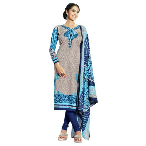 Craftsvilla Grey Color Cotton Blend Printed 3/4th Sleeves Unstitched Straight Suit