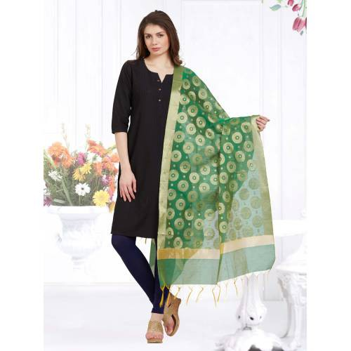 Craftsvilla Green Color Chanderi Woven Dupatta