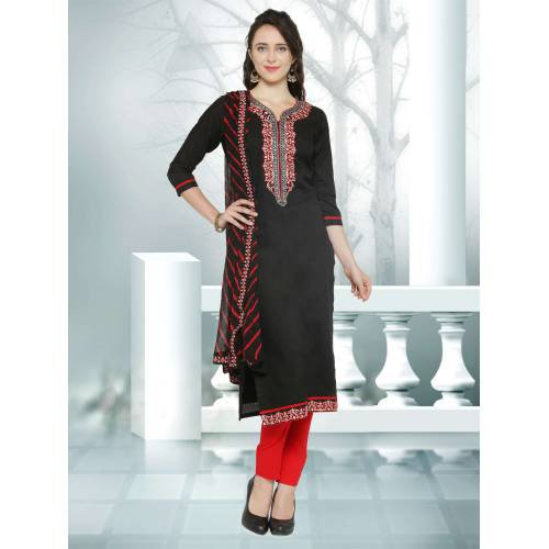 Craftsvilla Black And Red Cotton Party Wear Embroidered  Dress Materiai