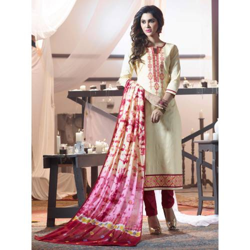 Craftsvilla Beige And Red Color Cotton Embroidered Unstitched Straight Suit