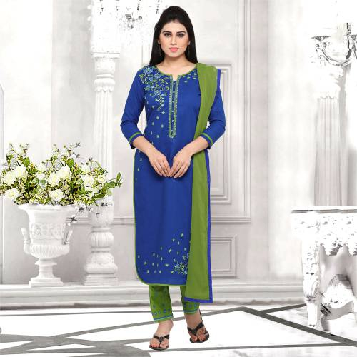 Craftsvilla Blue And Green Cotton Embroidered Un-stitched  Dress Material