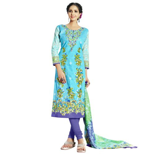 Craftsvilla Multicolor Cotton Blend Printed 3/4th Sleeves Unstitched Straight Suit