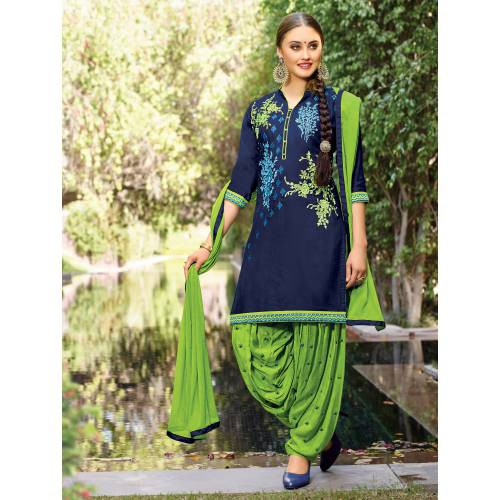 Craftsvilla Blue Color Cotton Embroidered 3/4th Sleeves Unstitched Straight Suit