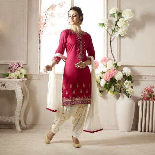 Craftsvilla Pink And White Color Cotton Embroidered Unstitched Straight Patiala Suit