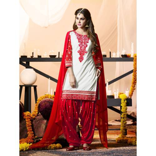 Craftsvilla White Color Cotton Embroidered 3/4th Sleeves Unstitched Straight Suit