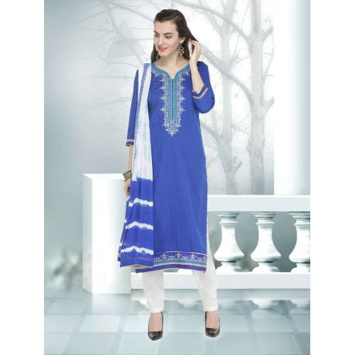 Craftsvilla Blue Color Jacquard And Cotton Embroidered 3/4th Sleeves Unstitched Straight Suit