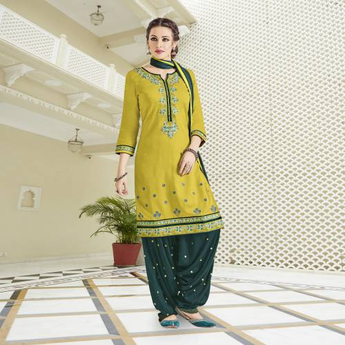 Craftsvilla Mustard And Teal Green Color Cotton Embroidered Unstitched Straight Patiala Suit