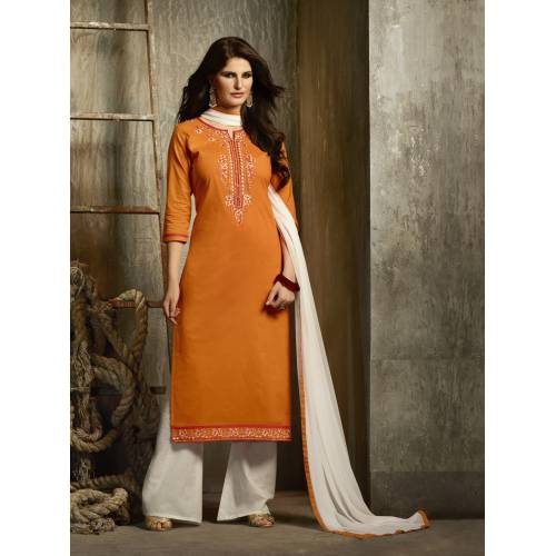 Craftsvilla Orange And White Cotton Party Wear Dress Material