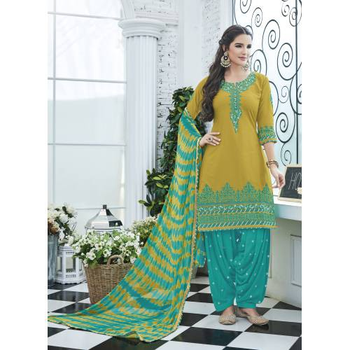 Craftsvilla Mustard Color Cotton Embroidered Unstitched Straight Suit