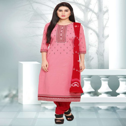 Craftsvilla Pink Color Cotton Embroidered Unstitched Straight Suit