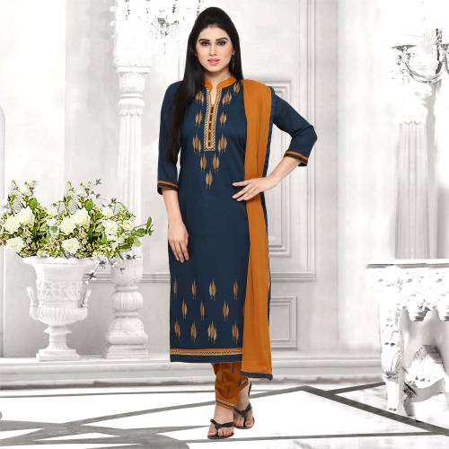 Craftsvilla Blue And Brown Cotton Embroidered Un-stitched  Dress Material