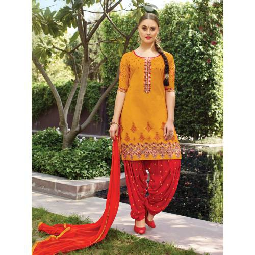 Craftsvilla Orange Color Cotton Embroidered 3/4th Sleeves Unstitched Straight Suit