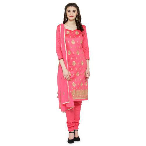 Craftsvilla Pink Color Synthetic Embroidered Unstitched Straight Suit