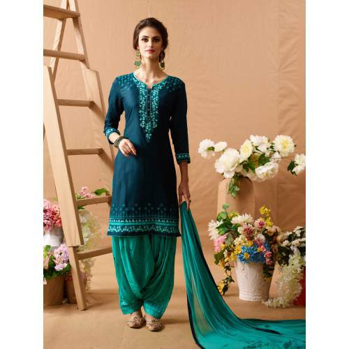 Craftsvilla Teal Green Color Art Silk Embroidered Unstitched Straight Suit