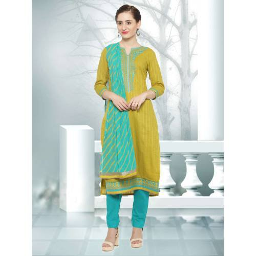 Craftsvilla Yellow Color Jacquard And Cotton Embroidered 3/4th Sleeves Unstitched Straight Suit