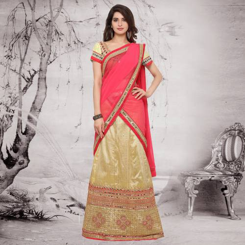 Craftsvilla Beige And Pink Color Raw Silk Lace Work Wedding Lehenga