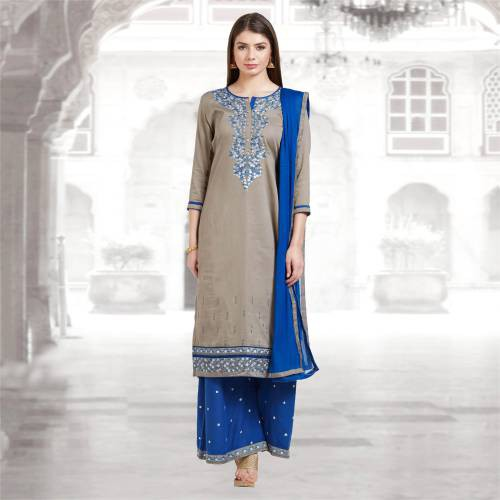 Craftsvilla Grey And Blue Color Cotton Embroidered Unstitched Straight Suit