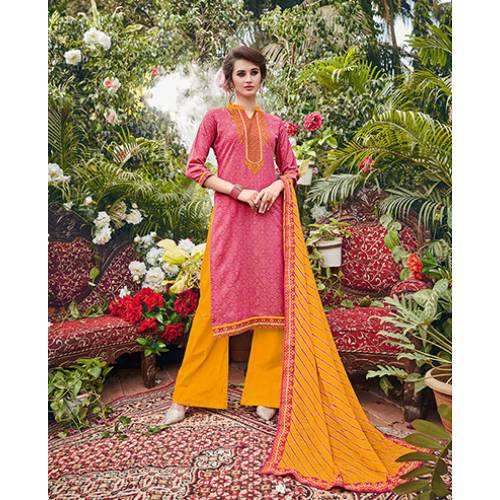 Craftsvilla Pink And Yellow Cotton Jacquard Embroidered Un-stitched  Dress Material
