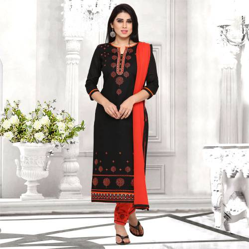 Craftsvilla Black And Orange Cotton Embroidered Un-stitched  Dress Material