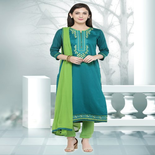 Craftsvilla Teal Blue Color Cotton Embroidered Unstitched Straight Suit