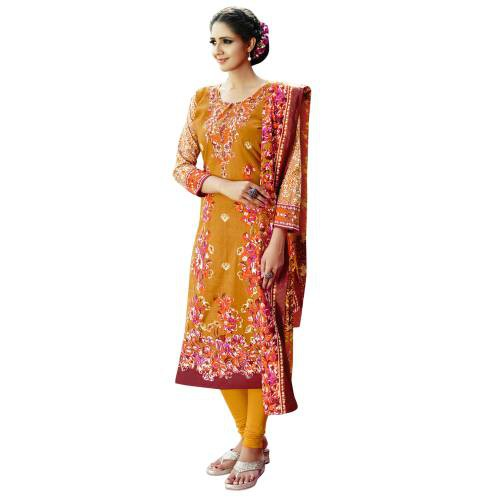 Craftsvilla Orange Color Cotton Blend Printed 3/4th Sleeves Unstitched Straight Suit