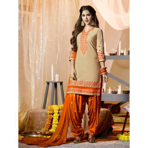 Craftsvilla Beige Color Cotton Embroidered 3/4th Sleeves Unstitched Straight Suit