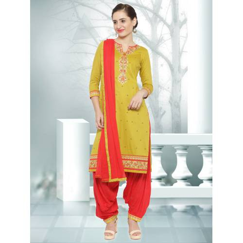 Craftsvilla Yellow Color Satin Embroidered Unstitched Straight Suit